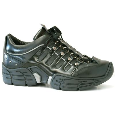 New Rock Boots 3107 Itali Negro Charol Negro Ribete Reflectante Crash Negro Per