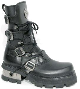 New Rock Boots 373-S1 Itali y Pulik Negro Planing Negro M3 Acero