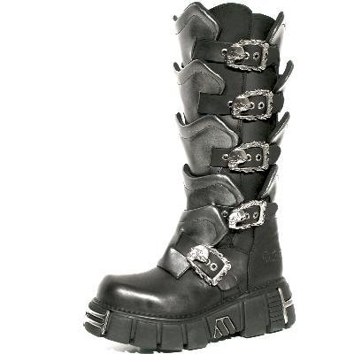 New Rock Boots 738 Itali Negro y Pulik Acero Tower Negro Acero