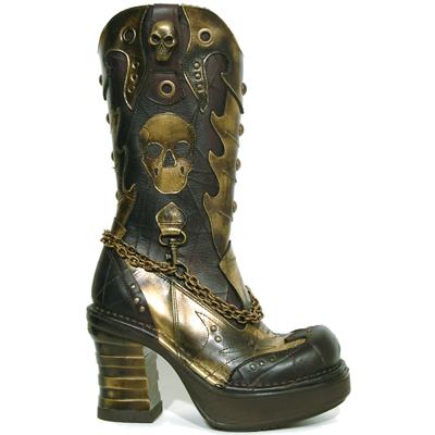 New Rock Boots 8304 Cheyenne Moro Pulik Oro Plataforma NRK Bandas Oro