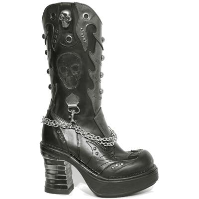 New Rock Boots 8304 Itali Negro Antik Negro Box Plane Plat. NRK Bandas Acero Ne
