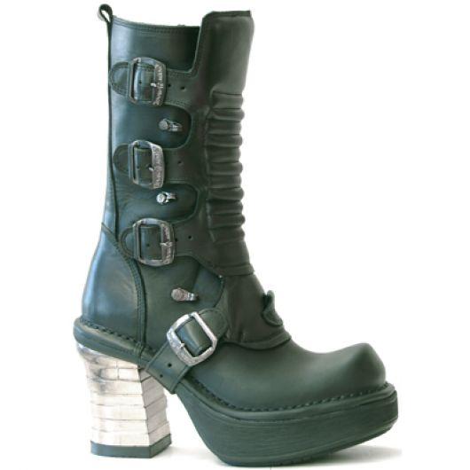 New Rock Boots 8373 Itali Negro Nomada Negro Plataforma NRK Bandas Acero
