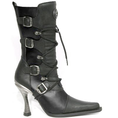New Rock Boots 9373 Itali y Rock Negro Malicia Negro Goma Tacon Salsa Acero