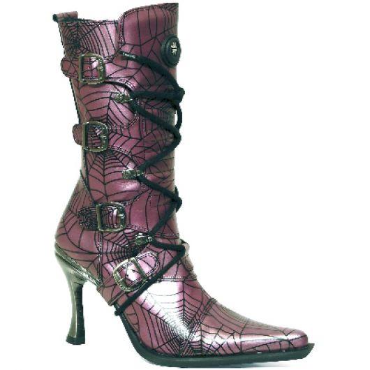 New Rock Boots 9373 araña lila malicia goma tacon salsa acero