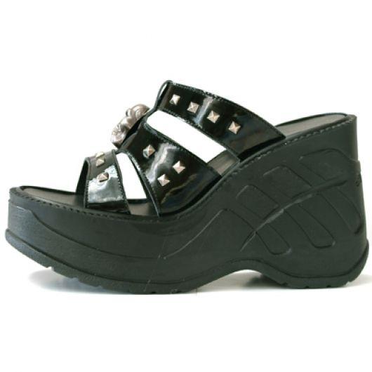 New Rock Boots 9804 Charol Negro Liso Cuña Sport Negro