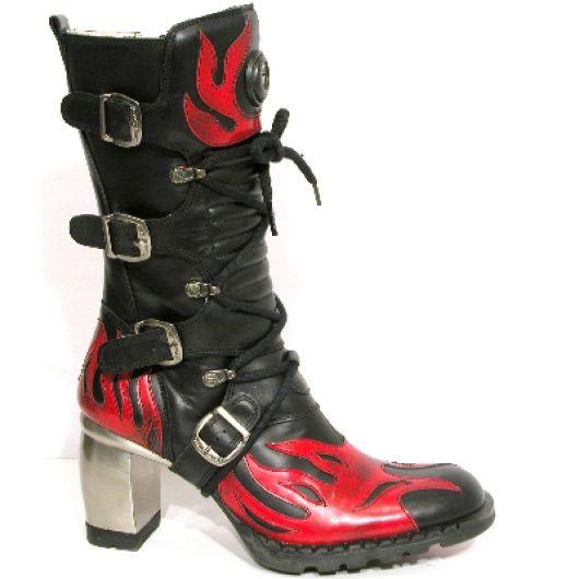 New Rock Boots 6591 Itali Negro y Lux Rojo Formula Negro Acero Tacon Rojo Acero