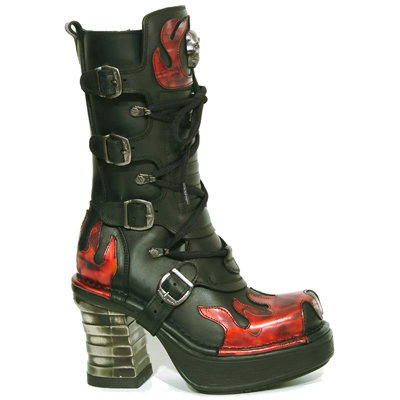 New Rock Boots 8591 Itali Negro Antik Fuego Plataforma NRK Negra Bandas Acero