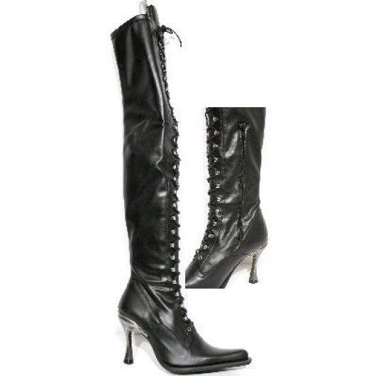 New Rock Boots 9026 Itali Negro y Piel Elastica Negra Malicia Tacon Salsa Acero