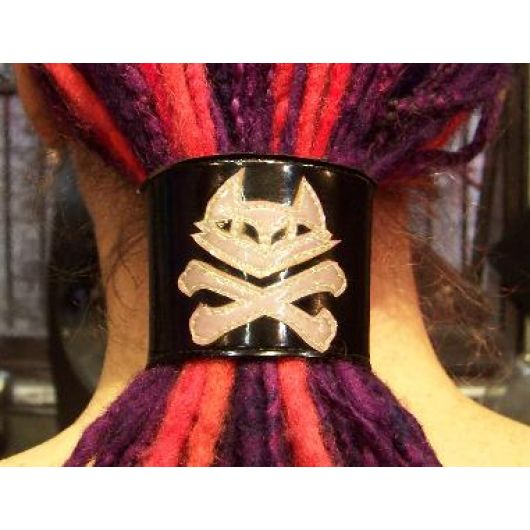 Dread Cuff/ Wrist Cuff - Pirate Kitty Cross Bones