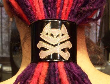 Dread Cuff/ Wrist Cuff - Pirate Kitty Cross Bones