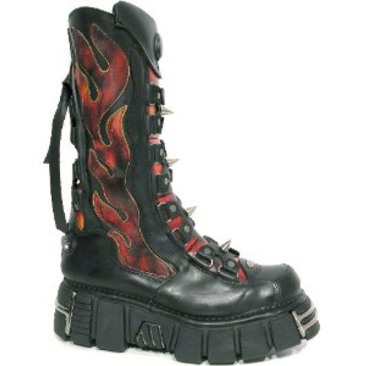 New Rock Boots 177 Itali Negro y Antic Fuego, Tower Negro Acero