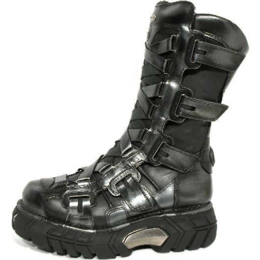 New Rock Boots 189 Pulik Acero e Itali Negro Trailer Negro Acero