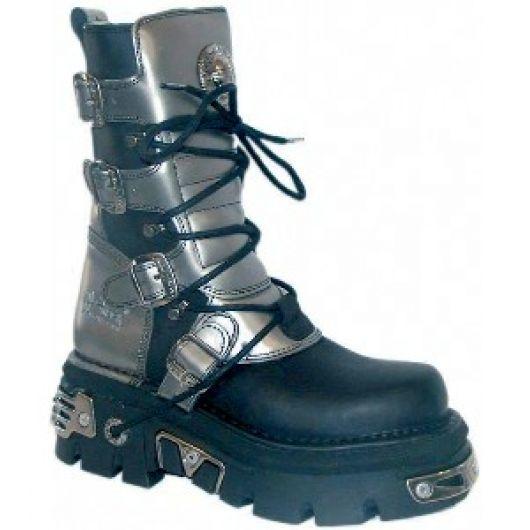 New Rock Boots 373 Itali Negro y Pulik Acero Reactor Negro Toberas E14