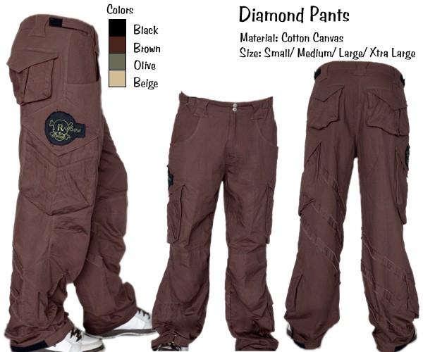 Random Mens Diamond Pants - BLACK