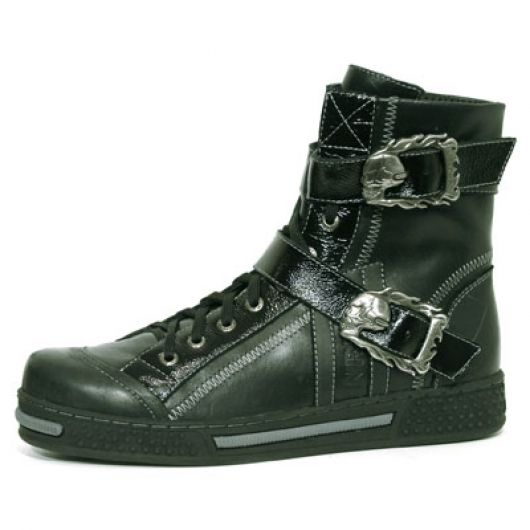 New Rock Boots 4510 S1 Goma Negra Rayada Itali y Charol Arrugado Negro Pisa Negro Gris