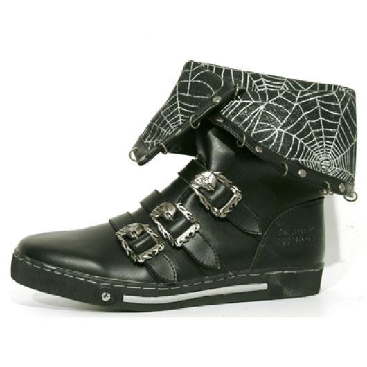 New Rock Boots 45694 Piel Negra Skull Negro Gris