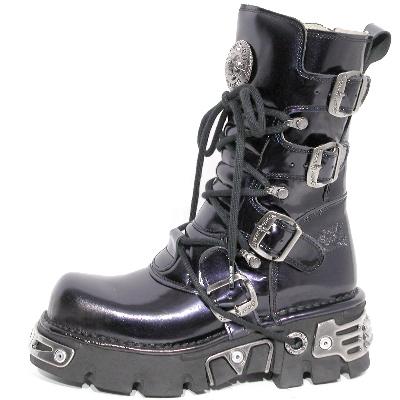 New Rock Boots 373-S4 Antic Morado Reactor Negro Toberas Orificio Y Canal