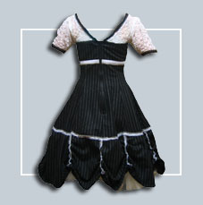 Wonderland Frock - BLACK with RED trim