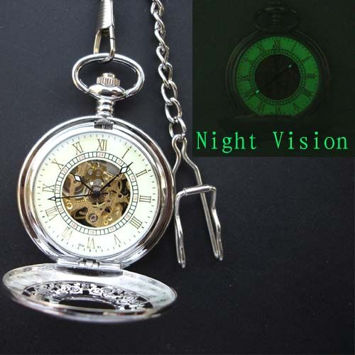 Silver Skeleton Mechanical Pocket Watch with open back & Roman numerals