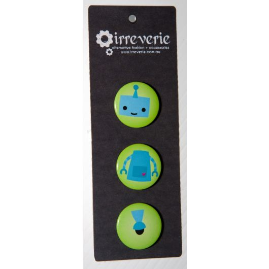 Blue Robot Mix and Match 25mm (1in) Button Badge Set