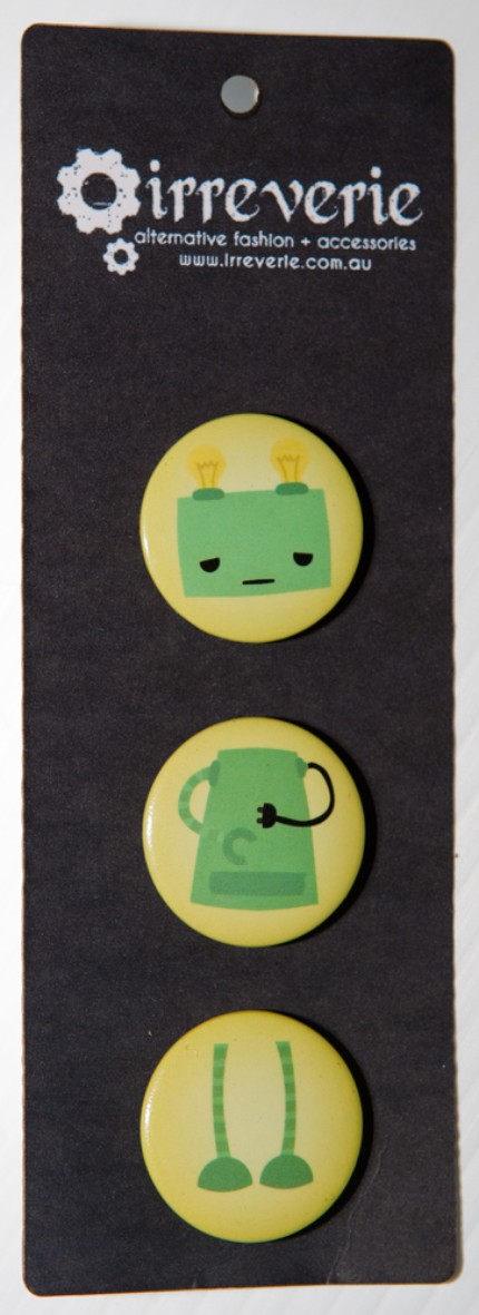 Green Robot Mix and Match 25mm (1in) Button Badge Set