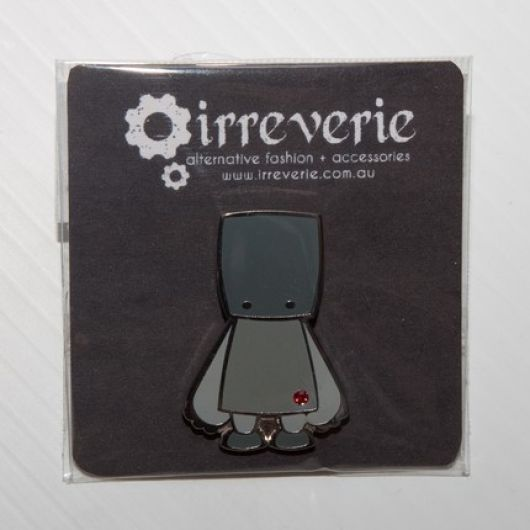 Grey Robot Cloisonne Badge with Swarovski Crystal