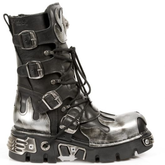 New Rock Boots 591-S2 ITALI NEGRO Y PULIK FUEGO, REACTOR NEGRO TOBERAS ORIFICI