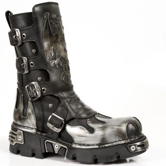 New Rock Boots 600 ITALI NEGRO Y ANTIC ACERO, REACTOR NEGRO TOBERAS