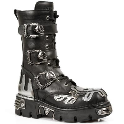 New Rock Boots 711 ITALI NEG PULIK ACERO BOX PLANE, REACTOR NEGRO TOBERAS