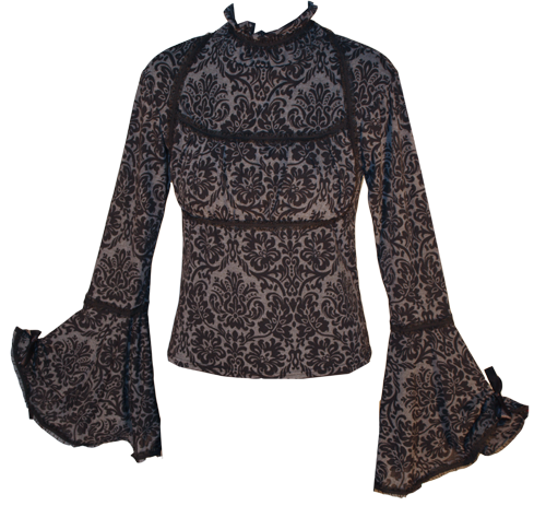 Long Bell Sleeve Stretch Victorian Print Blouse (grey & black)