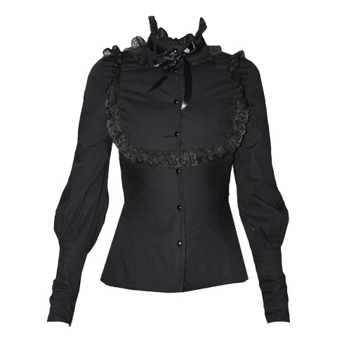 Elegant Gothic Aristocrat High Collar Blouse (black)