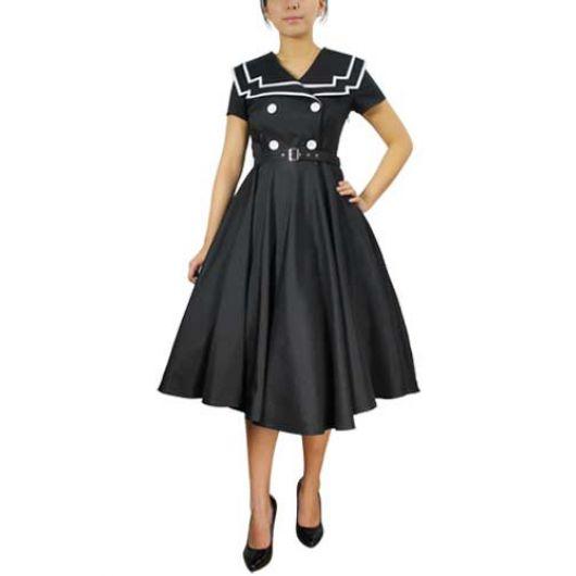 Chicstar Vintage Sailor Swing Dress - Black
