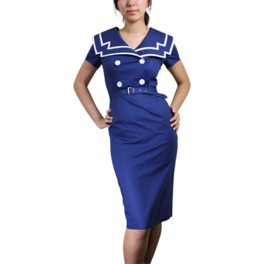 Chicstar Vintage Sailor Pencil Dress - Blue