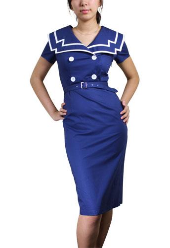 Chicstar Vintage Sailor Pencil Dress - Blue