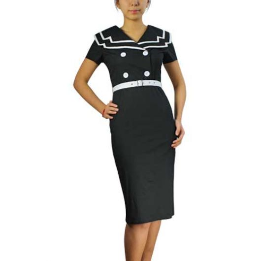 Chicstar Vintage Sailor Pencil Dress - Black
