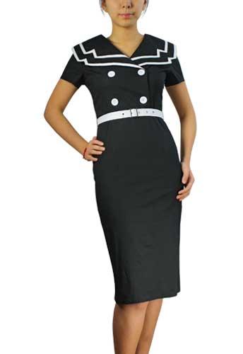 Chicstar Vintage Sailor Pencil Dress - Black