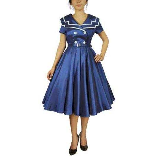 Chicstar Vintage Sailor Swing Dress - Blue
