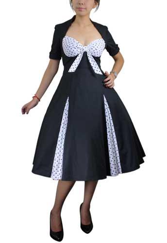 Chicstar Polka-dot Swing Dress black w/white