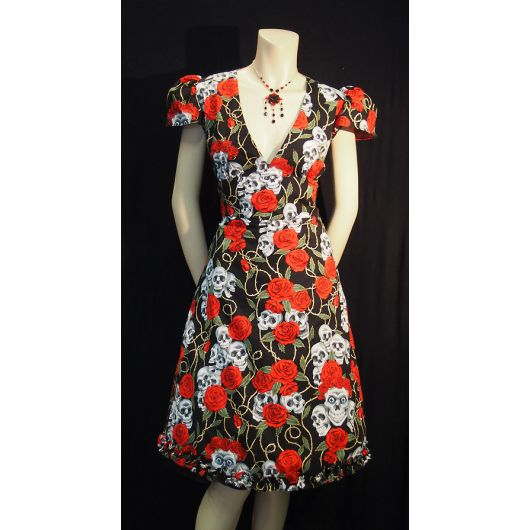 Rockabilly Skulls & Roses Black Dress - Cap Sleeve