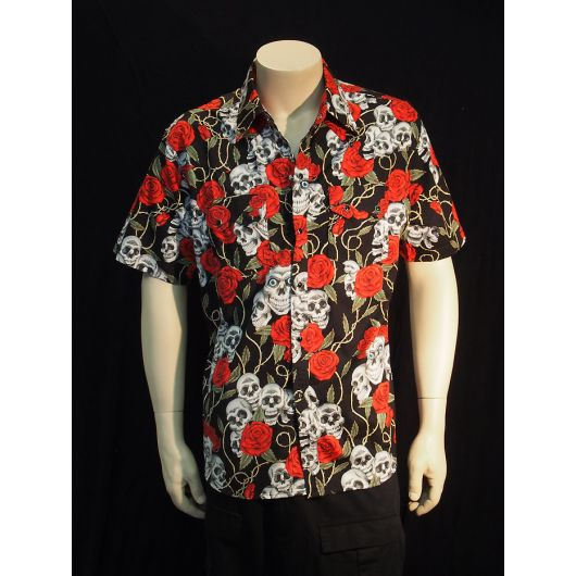 Rockabilly Skull & Roses Short Sleeve Mens Shirt