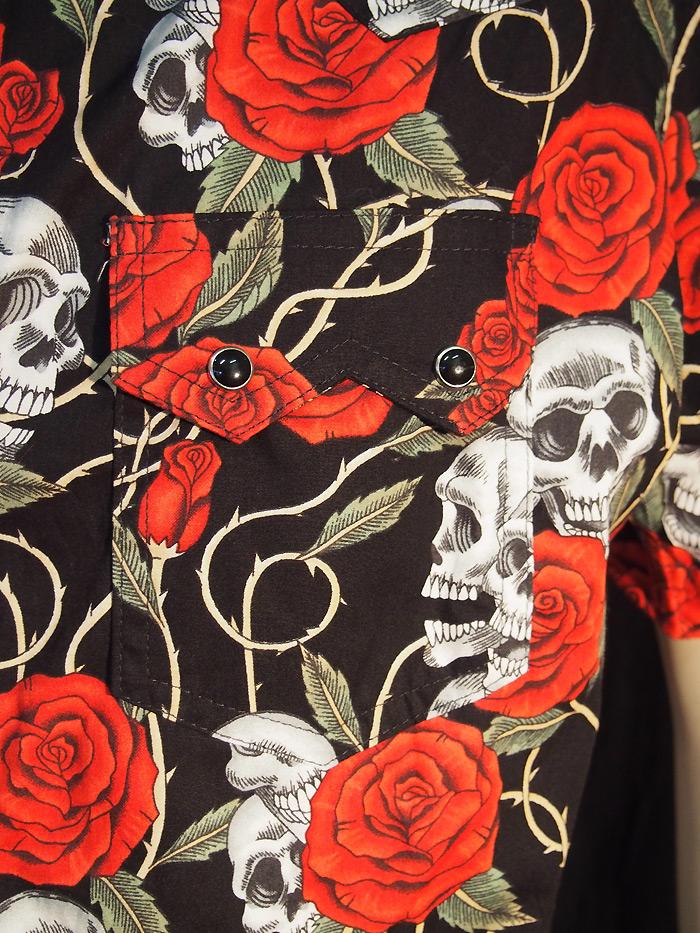 Rockabilly Skull & Roses Short Sleeve Mens Shirt