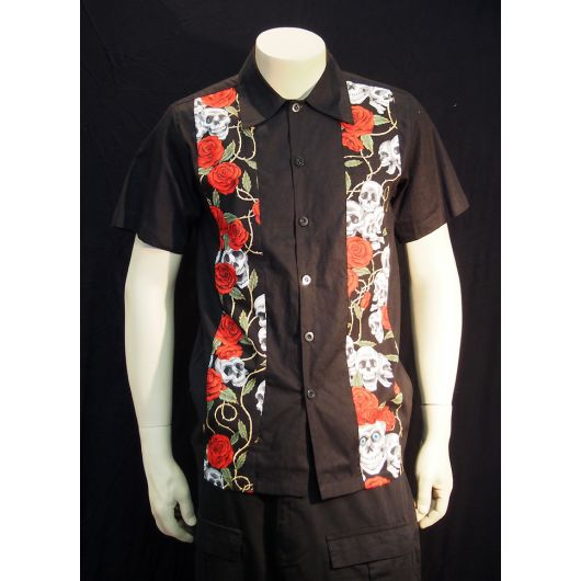 Rockabilly Skull and Roses Black Mens short sleeve