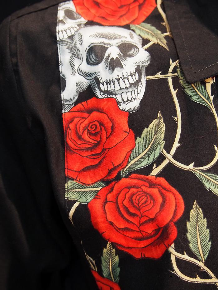 Rockabilly Skull and Roses Black Mens short sleeve
