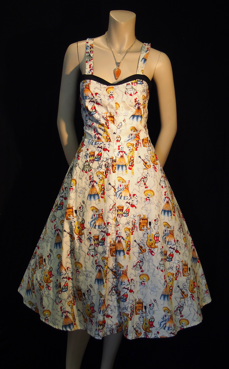 Rockabilly The Day of the Dead strap dress - cream