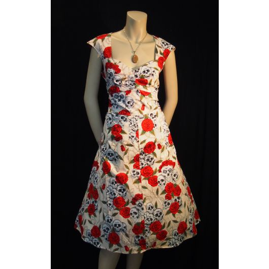 Rockabilly Skulls and Roses Flesh Sweetheart Dress