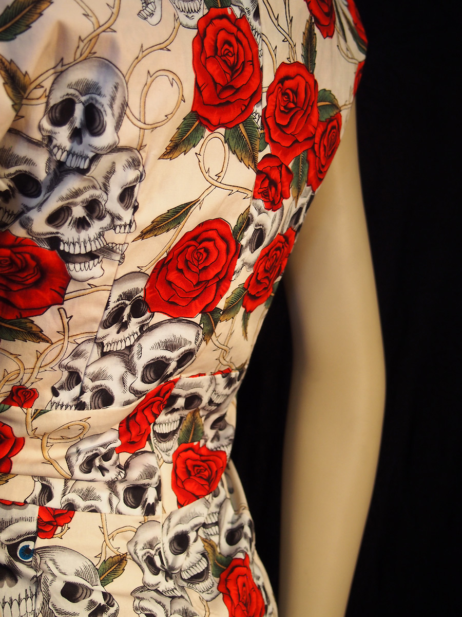 Rockabilly Skulls and Roses Flesh Sweetheart Dress